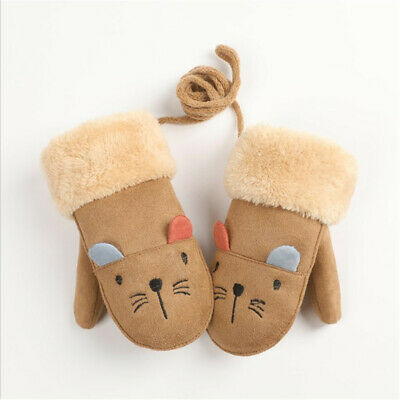 Child Gloves Winter Warm Velvet Thick Suede With Fingers Hanging Neck Rope Bags