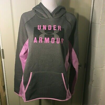 Under Armour UA Loose Storm Pullover Hoodie Pink & Marled Gray XL NWT