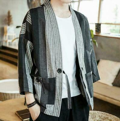 2019 Mens Top Shirt Baggy Coat Cardigan Outwear Loose Fit Fashion Jacket Retro