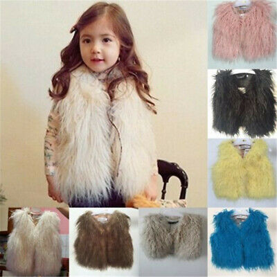 Toddler Kids Baby Boy Girl Winter Warm Faux Fur Hooded Outwear Jacket Coat