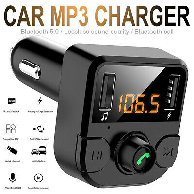Wireless Bluetooth 5 Handsfree LCD Car Transmitter MP3 Player FM USB Charger Kit