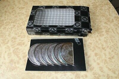 Boxed Set of 6 Etched Strachan Drink Coasters Vintage Silver Plate Table Mat