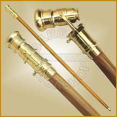 Nautical Cane Wooden Walking Stick Brass Telescope On Handle Best New Year Gift