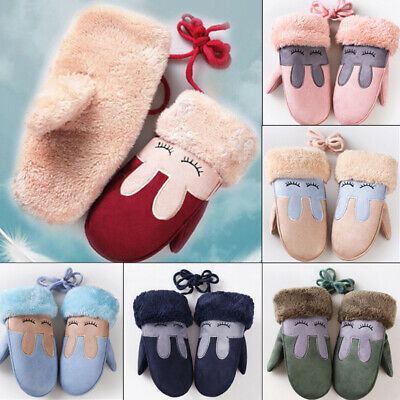 Cute Infant Baby Kid Girl Boy Winter Warm Thick Fur Mittens Gloves Acrylic Glove