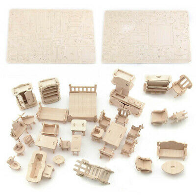34Pcs/Set Vintage Wooden Furniture Dolls House Miniature Kids Gifts Present Toys