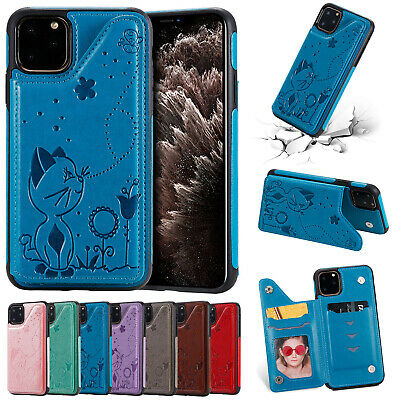 For iPhone 11 Pro Max XR 8+ 7 6s Cover Retro Slim Leather Stand Wallet Back Case