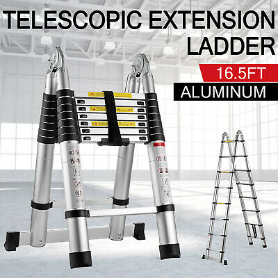 16.5Ft Aluminum Telescopic Extension Ladder Extendable Folding Multi-Use Step