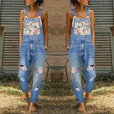 Women Ladies Floral Denim Dungarees Jeans Overall Long Jumpsuit Pants Playsuit