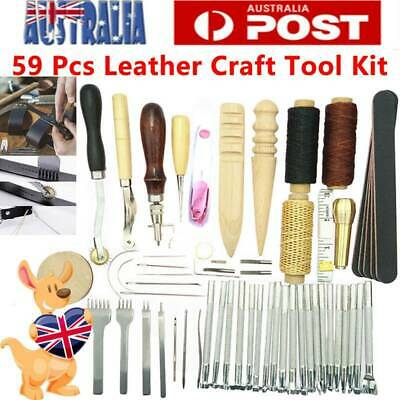 59PCS Leather Craft Hand Tools Kit Stitching Sewing Stamping Punch Carve Work AU