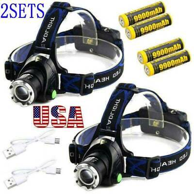 T6 LED 350000LM Zoomable Headlamp USB Rechargeable 18650 Headlight Head Lamp