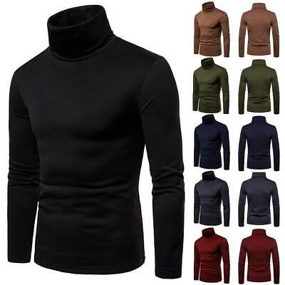 Men Winter Warm Slim Knitted High Roll Turtle Neck Pullover Sweater Jumper Tops