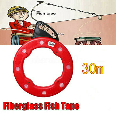 100Ft Fiberglass Fish Tape Reel Wire Pulling Tools 30m Electrical Cable Puller