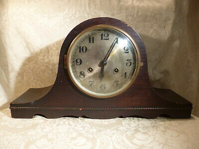 "Vintage Napoleons Hat Pendulum Chiming Mantel Clock Oak Cased 17"" Wide Two Train"