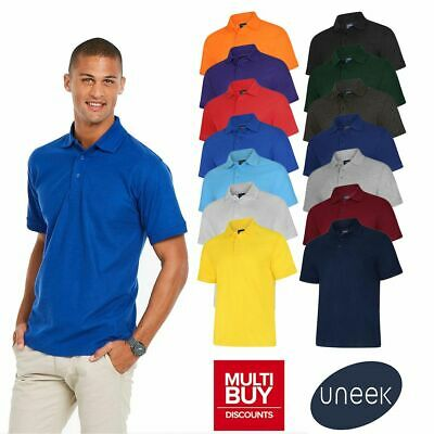 Uneek Deluxe Plain Polo Shirt • Mens Womens Casual Work Top UC108 • 14 Colours