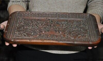 Chinese Huanghuali Wood Carved Dragon Tea Tray Pallet Waiter Tea-Things Statue