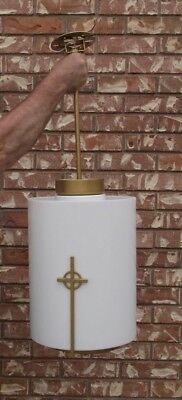 Church Hanging Light Fixture ~ Acrylic Lucite Cylinder ~ Cross ~ Manning ~ Used