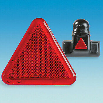 2 X Red Led Reflector Triangle Warning  60Mm Stick On