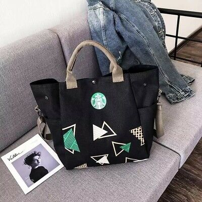 Starbucks Reusable Canvas Tote Bag, Coffee, Black, Fashionable, Earth, Recycle