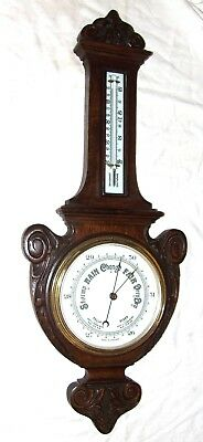 Antique English Carved Oak Aneroid Banjo Barometer and Thermometer (c15)