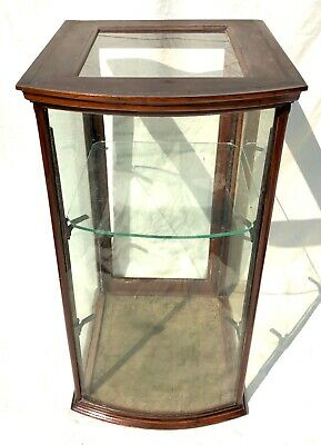 Antique Mahogany Counter Top Glazed Shop Fitting Display Cabinet with Bow Front