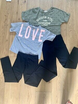 2 Girls Age 10-11 Outfits, Top, Trousers, Leggins