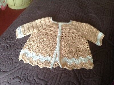 Romany Hand Crochet Bonnet And Cardigan Babies 6//12m With Fluff