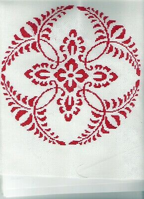 Handmade Cross Stitch of a Red Floral Circular