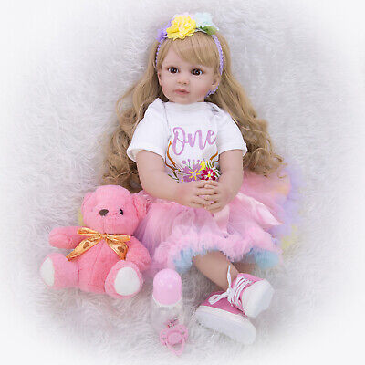 24'' Handmade Reborn Baby Dolls Real Looking Toddler Blond Girl Doll Xmas Gifts
