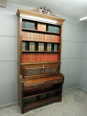 Antique Victorian Mahogany Open Bookcase Circa 1890