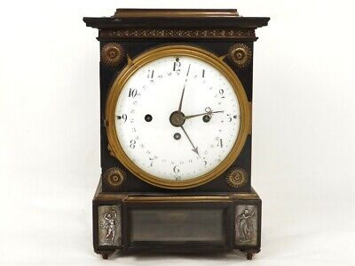 Superb Pendulum Terminal Date Mahogany Bronze Bell Antique Clock 19th