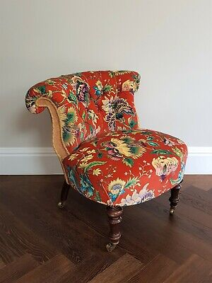 Victorian Tub chair fully reupholstered in House of Hackney majorelle fabric