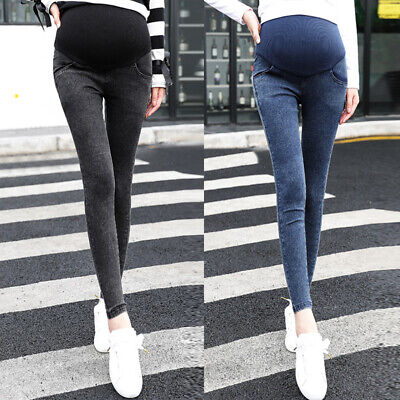 Stylish Women Maternity Trousers Pregnant Pants Sexy Slim Denim High Waist Party