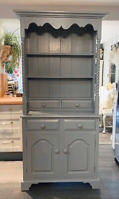 Beautiful Vintage  Solid Pine Dresser With Barley Twists Grey