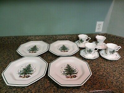 Nikko 12 Pc Set Christmastime Dinner Plates Cups Saucers In Box