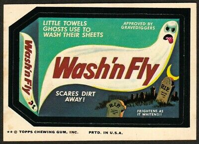 WASH'N FLY Ghost Towels~1974 Topps Wacky Packages 12th Series~Tan Back