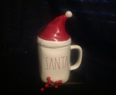 Rae Dunn SANTA red  LL mug with Lid Hat Topper 2019 Christmas VHTF Unique Gift!