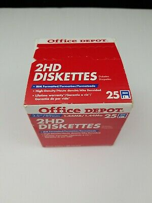 """25 New Office Depot 2HD Floppy Diskettes 3.5"""" 1.44MB High Density IBM Formatted"""