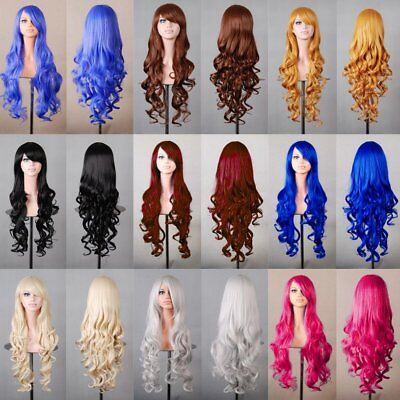Women Long Hair Full Wig Natural Curly Wavy Straight Synthetic Hair Wigs 7 7h