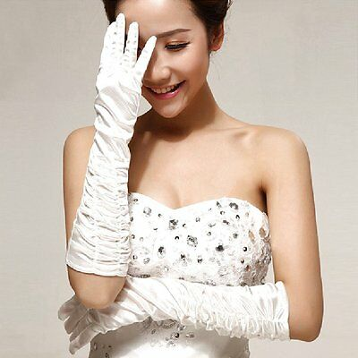 Satin Gloves Bridal Gloves Ruffle White Wedding Pure White New