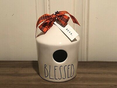Rae Dunn Halloween Collection By Magenta Ceramic Round BLESSED Birdhouse VHTF