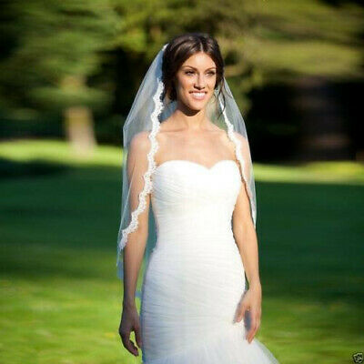 1 Layer white /ivory Lace Edge with comb Wedding Veil Bridal Veil elbow Length