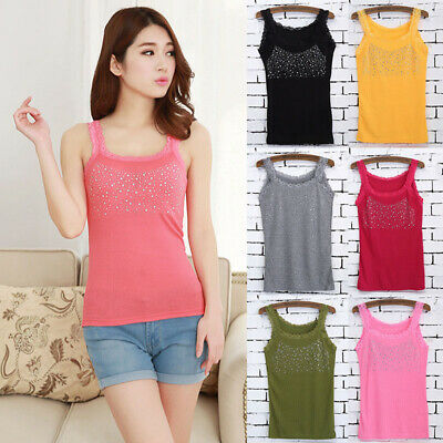Girls Crystal Sequin Lace Tank Top Slim Sleeveless Stripe Vest Sexy Solid Color