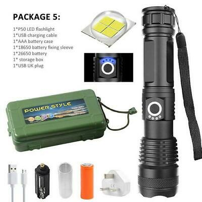 LED Tactical Flashlight Rechargeable 26650 Super Bright 120000LM Torch Zoomable