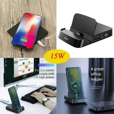 15W USB-C Wireless Charger HDMI Dex Desktop Charging Dock Mat For Samsung iPhone