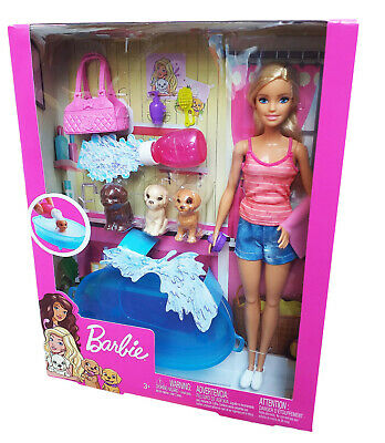 Barbie Doll GDJ37 Blonde and Playset with 3 Puppies and Accessories New