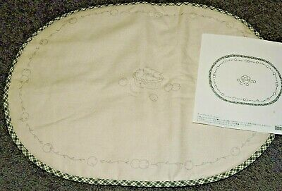 Stamped Cotton Padded Placemat To Embroider Apple Fruit Basket Crewel Needlework