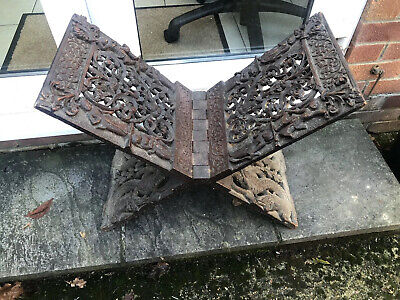 Very Rare Antique?  Koran / Quran Stand - Finely Engraved Old Wooden Stand