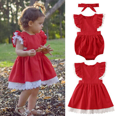 AU Kids Baby Girls Big/Little Sister XMAS Matching Lace Romper Dress Christmas