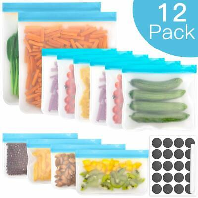 12Reusable Food Storage Silicone Bags Leak-Proof Ziplock Seal Large Produce Bags