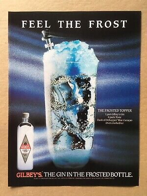 """1989 GILBEY'S GIN """"FEEL THE FROST"""" Frosted Topper Original Print Ad, 8.25""""x11"""""""